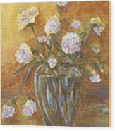 Sunny Carnations In A Vase Wood Print
