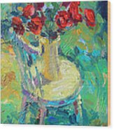 Sunny Impressionistic Rose Flowers Still Life Painting Wood Print