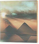 Sunrays Shine Down On Three Pyramids Wood Print