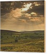 Sunrays Through Clouds, North Wood Print