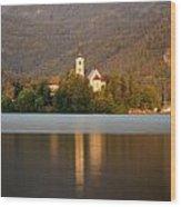 Sunrise Across Lake Bled Wood Print
