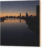 Sunrise Along The Charles River, Boston Wood Print