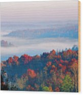 Sunrise And Fog In The Cumberland River Valley Wood Print