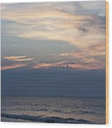 Sunrise And Surf Wood Print