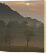 Sunrise And The Early Morning Fog Iron Wood Print