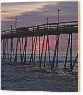 Sunrise At Avalon Pier Wood Print