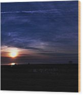 Sunrise At The Folly Beach Pier Wood Print