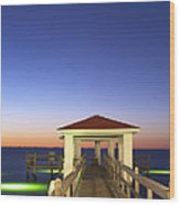 Sunrise At The Texas Gulf Coast Wood Print