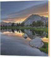 Sunrise At Upper Young Lake Wood Print by by Sathish Jothikumar