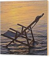 Sunrise Beach Lounging Wood Print