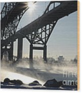 Sunrise Blue Water Bridges Fog Wood Print