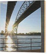 Sunrise Blue Water Bridges Wood Print