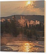 Sunrise Near Yellowstone's Punch Bowl Spring Wood Print