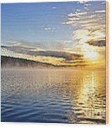 Sunrise On Foggy Lake Wood Print