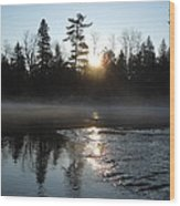 Sunrise On Ice Wood Print