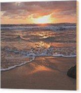 Sunrise On Kauai Coast Wood Print