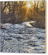 Sunrise On The St Vrain River Wood Print