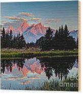 Sunrise On The Tetons Wood Print
