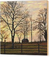 Sunrise Over A Barn Wood Print
