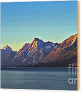 Sunrise Over Jackson Lake Wood Print