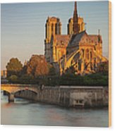 Sunrise Over Notre Dame Wood Print