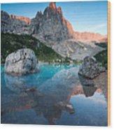 Sunrise Over Peak In Dolomites Wood Print