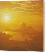 Sunrise Over Rio De Janeiro And Sugar Wood Print