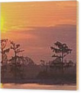 Sunrise Over The River Wood Print