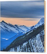 Sunrise Over The Rockies Wood Print