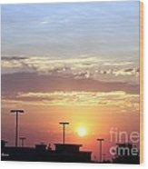 Sunrise Over The Shopping Mall Wood Print