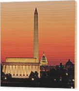Sunrise Over Washington Dc Wood Print