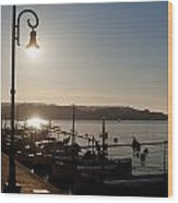 sunrise - First dawn of a spanish town is Es Castell Menorca sun is a special lamp Wood Print