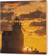 Sunrise Pier Fishermen Wood Print