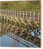 Sunrise Pier Reflection Wood Print