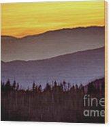 Sunrise Ridges Wood Print