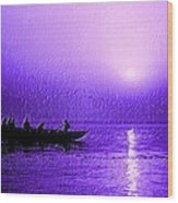 Sunrise Rowing Wood Print