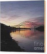 Sunrise Sagamore Bridge Wood Print