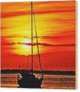 Sunrise Sailing Wood Print