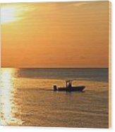 Sunrise Sport Fishing Wood Print