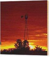 Sunrise Windmill 1 C Wood Print