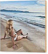 Sunrise Woman Wood Print