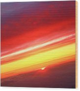 Sunset Above The Clouds Wood Print