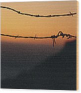 Sunset And Barbed Wire At Big Sur Wood Print