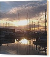 Sunset And Boats Wood Print