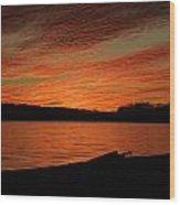 Sunset And Kayak Wood Print