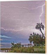 Sunset And Lightning Wood Print
