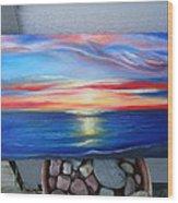 Sunset And Stone Wood Print