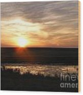 Sunset And Water Wood Print