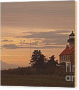 Sunset At East Point Light  Wood Print