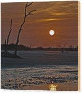 Sunset At Folly Island Sc Wood Print